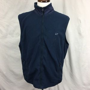 Vineyard Vines Navy Blue Zip Up Fleece Mens Vest